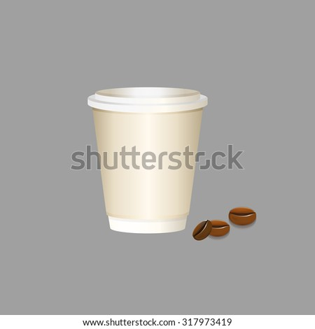 Coffee paper cup. Paper coffee cup. Paper cappuccino cup vector. Large coffee paper cup. Beige espresso cup with cap. Coffee to go. Coffee cup isolated. Paper cup. Paper cup vector. To go cup vector. - stock vector