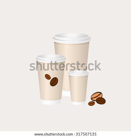 Coffee paper cup. Paper coffee cups. Three paper cappuccino cups. Small medium and large paper cups. Beige espresso cups with caps. Coffee to go. Coffee cup isolated. Paper cups. Paper cup vector. - stock vector