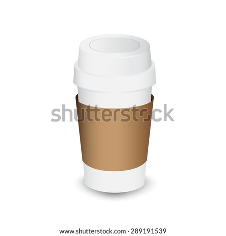 coffee paper cup with cardboard sleeve vector illustration