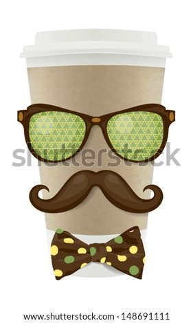 Coffee paper cup with hipster mustache - stock vector