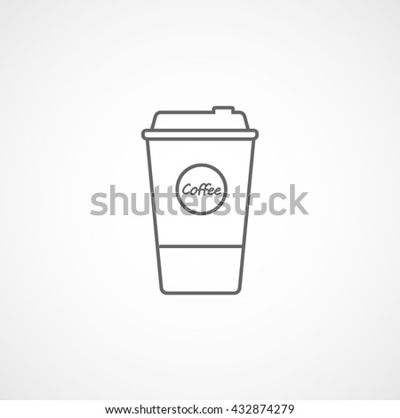 Coffee Plastic Cup Line Icon On White Background - stock vector