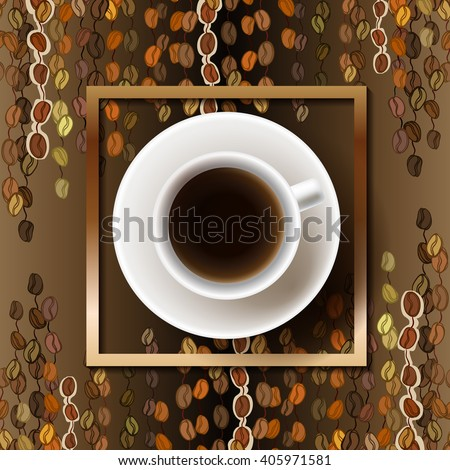 Coffee poster design with cup of hot coffee and beans lines striped texture and golden frame. Coffee banner design for coffee shop menu, restaurant and cafeteria. Brown gold vector background. - stock vector
