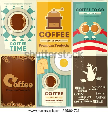 Coffee Posters Set - Collection Posters on Theme of Coffee. Vector Illustration. - stock vector