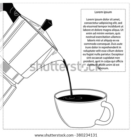 Coffee pot and cup. Black and white design with Text Place. Vector illustration