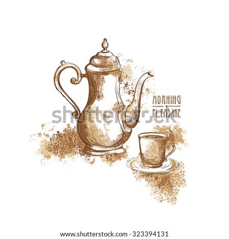 Coffee pot, cup of coffee and inscription Morning Pleasure on a white background. Vector - stock vector