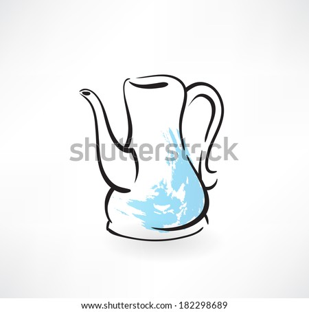 coffee pot grunge icon - stock vector