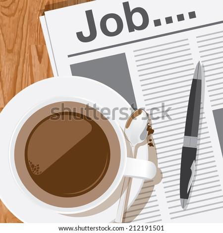 coffee,reading job column in newspaper vector - stock vector