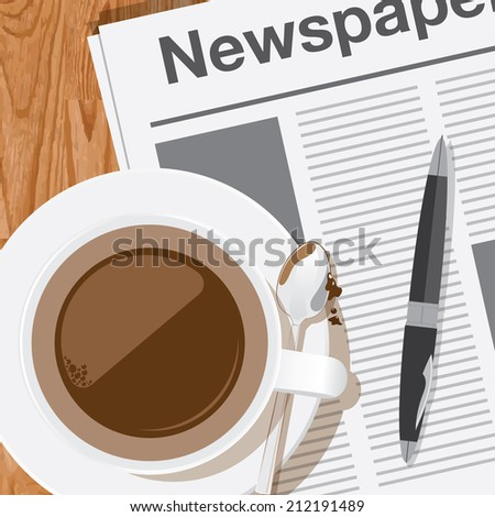 coffee,reading the newspaper vector - stock vector