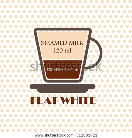 Coffee recipe Flat White - stock vector