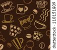 Coffee related seamless pattern - stock vector