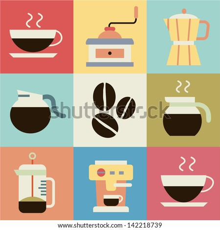 Coffee retro vector - stock vector