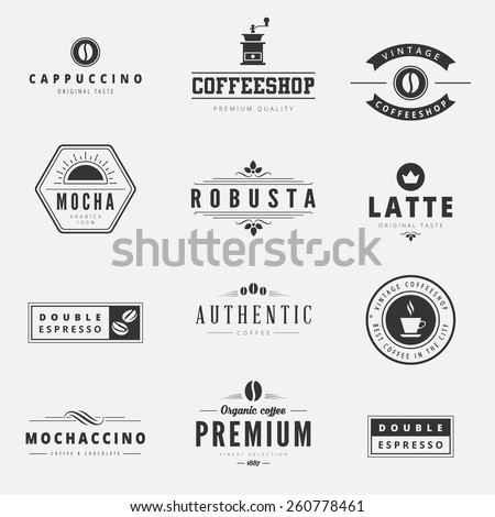 Coffee Retro Vintage Labels Logo design vector typography lettering inspiration templates.  Old style elements, business signs, logos, label, badges, stamps and symbols. - stock vector