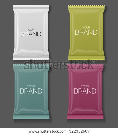 Coffee, Salt, Sugar, Pepper, Spices, Sachet, Sweets, Chocolate Or Candy Plastic Pack Ready For Your Design. - stock vector