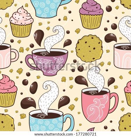 Coffee seamless pattern - stock vector
