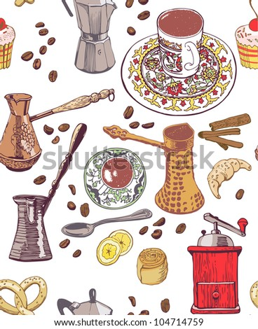 Coffee seamless pattern. colored - stock vector