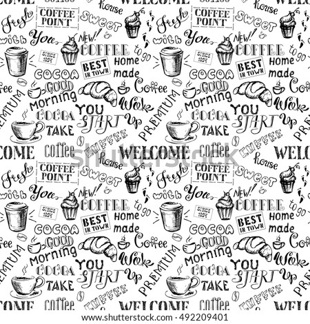 Coffee seamless pattern with lettering,hand drawn on white background, stock vector illustration