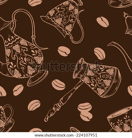 Coffee seamless pattern with pot, cooper, cup, milk jug and beans - stock vector