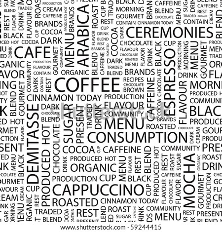 COFFEE. Seamless vector background. Illustration with different association terms.