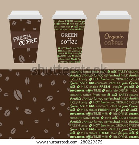 Coffee set. Designed coffee cups with labels. Seamless patterns for design. - stock vector