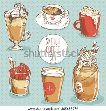 Coffee set; hand drawn sketch collection with cup of espresso, cappuccino, latte, mocha, dessert; drinks; elements for cafe menu, restaurant posters or postcards; - stock vector