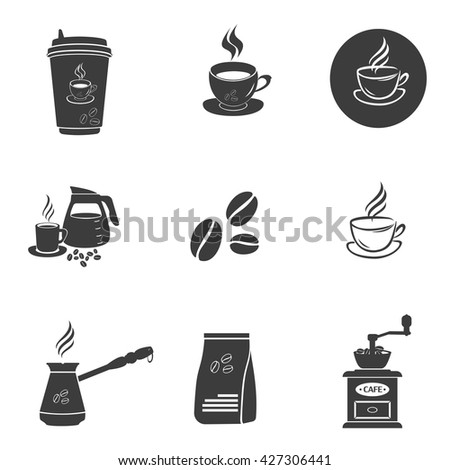 Coffee set icons. Coffee set Vector icons isolated on white background. Flat vector illustration in black. EPS 10 - stock vector