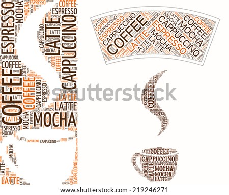 Coffee set (includes cup template) made of words. - stock vector