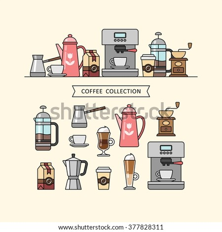 Coffee set of elements. Cafe. Coffee shop. Coffee house. Barista. Coffee time. Vector illustration. - stock vector