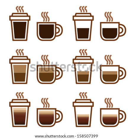Coffee set types menu in vector icons - stock vector