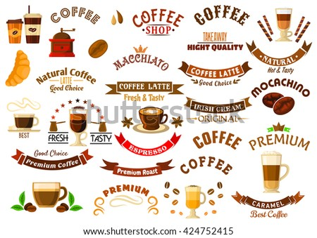 Coffee shop and cafe design elements with retro icons of cups with various coffee drinks and takeaway cups with decaf, coffee beans, grinder and pots, ribbon banners and stars, crowns and pastries - stock vector