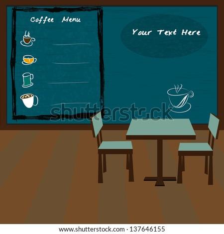 Coffee shop and menu bar drawn on chalkboard,vector eps10 - stock vector