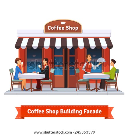 Coffee shop building facade with signboard. People eating and drinking at the tables under sun blind. Waiter serving a dish to a customer. Flat style illustration or icon. EPS 10 vector. - stock vector