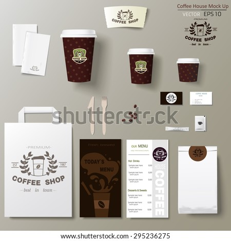 Coffee shop corporate identity template design set. Take away mock up - stock vector