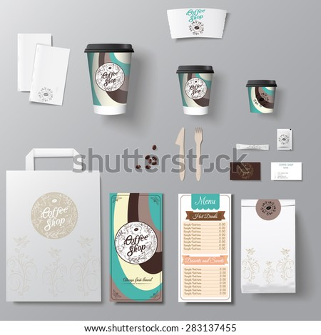 Coffee shop corporate identity template design set with calligraphy logo. Take away mock up - stock vector