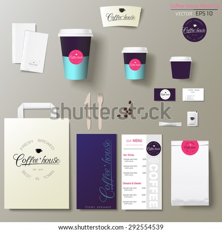 Coffee shop corporate identity template design set with calligraphy logo. Take away mock up