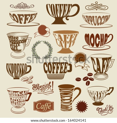 Coffee Shop Icons and Symbols - Set of coffee shop signs, with coffee cups, mugs and decorative elements, including swirls, coffee beans, wreath and price tags - stock vector