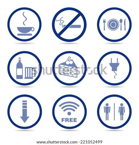 Coffee shop icons, basic vector. - stock vector
