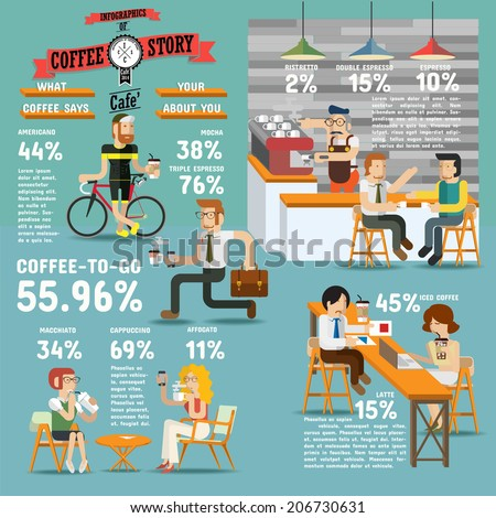 Coffee shop illustration design elements, Infographics of coffee story. - stock vector
