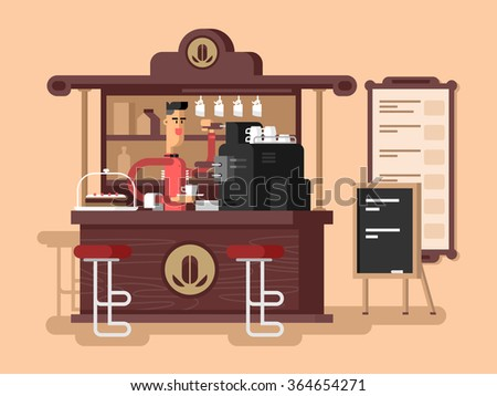Coffee shop interior - stock vector