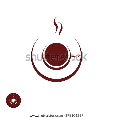 Coffee shop logo template, natural abstract coffee cup with steam, coffee house emblem, creative cafe logotype, modern trendy symbol design vector illustration isolated on white background sign - stock vector