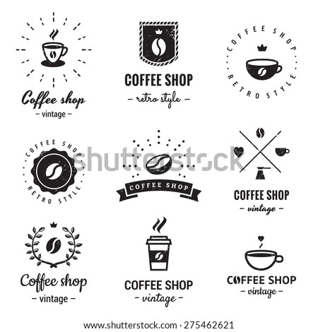 Coffee shop logo vintage vector set. Hipster and retro style. Perfect for your business design. - stock vector