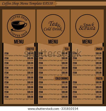 coffee shop menu template 1 stock vector royalty free 331810154
