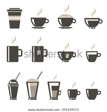 Coffee shop products. Vector illustration of Coffee Cup Icons. Hot beverage concept. - stock vector