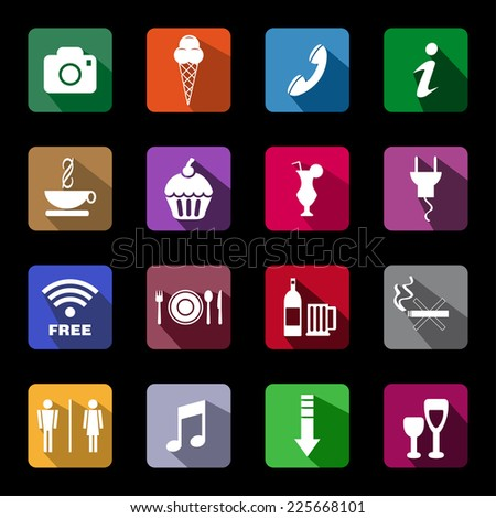 Coffee shop, restaurant, bar and tourism icons, vector button, - stock vector