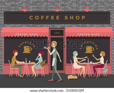 Coffee shop scene of people eating, chatting, meeting - stock vector