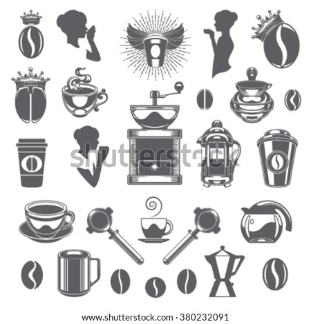 Coffee Shop Vector Design Elements. Coffee Cup Silhouette Isolated On White Background. Vector object for Labels, Badges, Logos Design. Coffee Logo, Tea Logo, Coffee Silhouette, Bean Icon, Cup Icon - stock vector