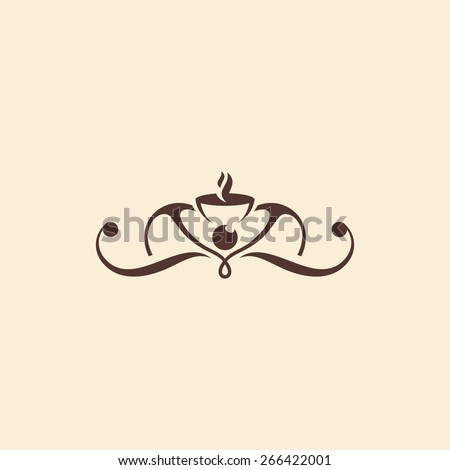 Coffee shop vintage abstract sign. Vector Illustration. Branding Identity Corporate vector logo design template Isolated on a beige background - stock vector