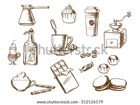 Coffee sketched icons with cup of coffee on saucer with coffee beans and candies with ice cream, cakes, cappuccino, liquor, takeaway cup, chocolate, vintage coffee grinder and copper pot. Sketch style - stock vector