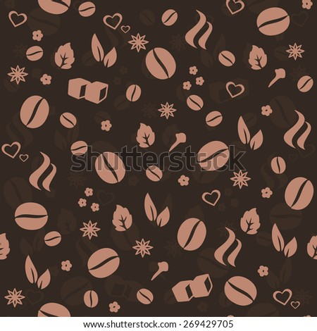Coffee & Spices vector seamless pattern. Love Coffee vector background for food labeling & package decoration, cafe menu, interior & tableware decoration, wallpaper, wrapping paper, pattern fills. - stock vector
