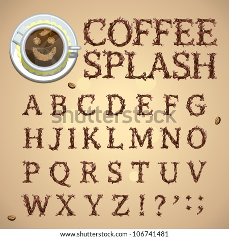 Coffee splash special font, abc a-z capital headline letters, vector - stock vector