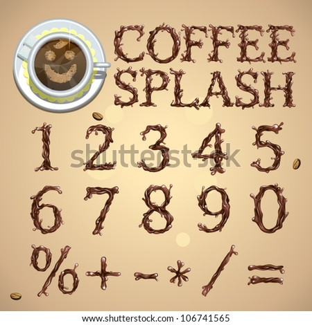 Coffee splash special font, numbers, digits, vector - stock vector